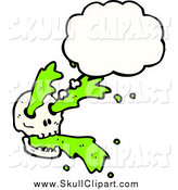 April 1st, 2015: Vector Clip Art of a Skull with Green Slime and a Though Bubble by Lineartestpilot