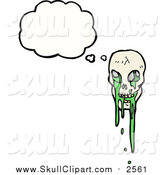 Vector Clip Art of a Skull with Green Slime Thinking by Lineartestpilot
