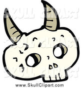 Vector Clip Art of a Skull with Horns by Lineartestpilot