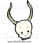 Vector Clip Art of a Skull with Long Horns by Lineartestpilot