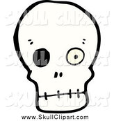 Vector Clip Art of a Skull with One Eye Ball by Lineartestpilot
