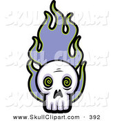 Vector Clip Art of a Skull with Purple Flames on White by Cory Thoman