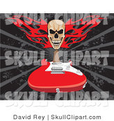 Vector Clip Art of a Skull with Red Fire over a Red Electric Guitar on a Gray and Black Background by David Rey