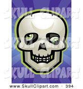 Vector Clip Art of a Skull with Rolled Eyes over a Purple Starburst by Cory Thoman