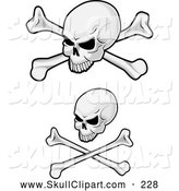 Vector Clip Art of a Skulls and Crossbones Designs by Vector Tradition SM