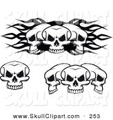 Vector Clip Art of a Skulls Digital Collage Set by Vector Tradition SM