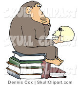 "Vector Clip Art of a Smart Chimpanzee Sitting on Top of a Pile of Books and Gazing at a Skull, a Parody of Hugo Rheinhold's ""Philosophizing Ape"" Sculpture That Was Created in 1892 by Djart"
