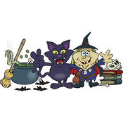 Vector Clip Art of a Smiling Evil Witch and Her Cat by a Cauldron, Broom and Skull on Books by Dennis Holmes Designs