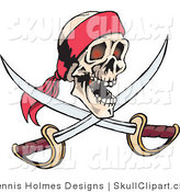 Vector Clip Art of a Smiling Human Pirate Skull with Crossed Swords by Dennis Holmes Designs