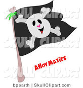 Vector Clip Art of a Smiling Skull and Crossbones on a Black Jolly Roger Pirate Flag and Ahoy Maties Text Below by