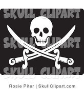 Vector Clip Art of a Smiling White Skull over Crossed Pirate Swords on Black by Rosie Piter