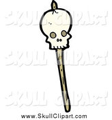 Vector Clip Art of a Speared Skull Stick by Lineartestpilot