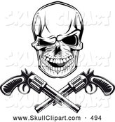 Vector Clip Art of a Spooky Black and White Gangster Skull with Crossed Pistols by Vector Tradition SM
