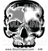Vector Clip Art of a Spooky Dark Human Skull by Chromaco
