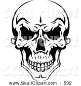 Vector Clip Art of a Spooky Evil Black and White Skull by Vector Tradition SM
