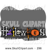 Vector Clip Art of a Spooky Gray Halloween Sign with Bones and Copyspace by BNP Design Studio