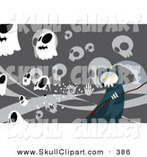 Vector Clip Art of a Spooky Grim Reaper over Gray with Skulls by Mayawizard101