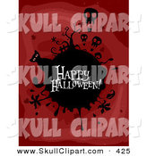 Vector Clip Art of a Spooky Happy Halloween Greeting on a Black Globe with Skull Balloons and a Cat on Red by BNP Design Studio