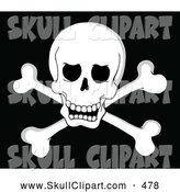 Vector Clip Art of a Spooky Pirate Skull and Cross Bones on Black by Visekart