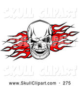 Vector Clip Art of a Spooky Skull over Red Flames by Vector Tradition SM
