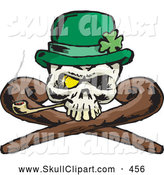 Vector Clip Art of a Spooky St Patricks Day Skull with Crossed Canes a Pipe Gold Eye and Leprechaun Hat by Dennis Holmes Designs