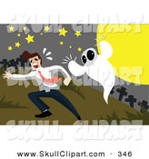 Vector Clip Art of a Spooky White Ghost Chasing a Man in a Cemetery by Mayawizard101