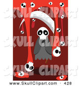 Vector Clip Art of a Spooky White Ghost with a Scythe and Skulls with Blood by Mayawizard101