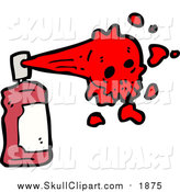 Vector Clip Art of a Spray Paint Can with Red Skull Paint by Lineartestpilot