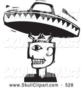 Vector Clip Art of a Strange Man with a Skull and Sombrero Head Black and White Woodcut by Xunantunich