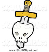 Vector Clip Art of a Sword Through a Human Skull by Lineartestpilot