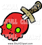 Vector Clip Art of a Sword Through a Red Skull with Green Eye Sockets by Lineartestpilot