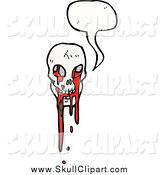 Vector Clip Art of a Talking Bloody Skull by Lineartestpilot