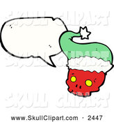 Vector Clip Art of a Talking Christmas Skull by Lineartestpilot