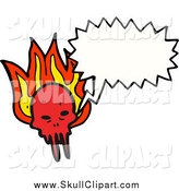 Vector Clip Art of a Talking Demon Skull with Flames by Lineartestpilot
