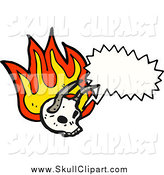 Vector Clip Art of a Talking Flaming Horned Devil Skull by Lineartestpilot