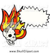Vector Clip Art of a Talking Horned Skull with Flames by Lineartestpilot