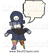 Vector Clip Art of a Talking Pirate with a Peg Leg and Skull Hat by Lineartestpilot