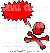 Vector Clip Art of a Talking Red Skull and Crossbones by Lineartestpilot