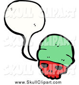 Vector Clip Art of a Talking Red Skull Wearing a Green Cap by Lineartestpilot