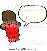Vector Clip Art of a Talking Red Skull Wearing a Ht by Lineartestpilot