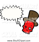 Vector Clip Art of a Talking Red Skull Wearing a Top Hat by Lineartestpilot