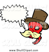 Vector Clip Art of a Talking Red Skull with a Blond Mustache by Lineartestpilot