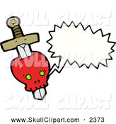 Vector Clip Art of a Talking Red Skull with a Dagger by Lineartestpilot