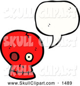 Vector Clip Art of a Talking Red Skull with a Missing Eye by Lineartestpilot