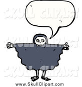 Vector Clip Art of a Talking Skeleton in a Cape by Lineartestpilot