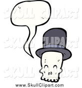 Vector Clip Art of a Talking Skull with a Top Hat by Lineartestpilot