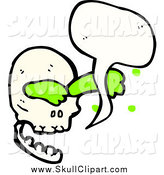 Vector Clip Art of a Talking Skull with Green Slime by Lineartestpilot