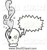 Vector Clip Art of a Talking Skull with Smoke Emerging from an Eye Socket by Lineartestpilot