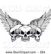 Vector Clip Art of a Tattoo Design of Three Winged Skulls by Vector Tradition SM
