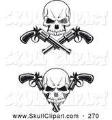 Vector Clip Art of a Tattoo Desing of Black and White Skulls with Revolvers by Vector Tradition SM